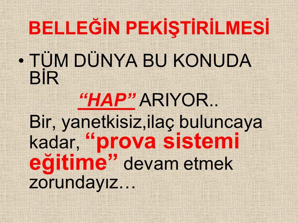 BELLEĞİN PEKİŞTİRİLMESİ TÜM DÜNYA BU KONUDA BİR HAP ARIYOR..