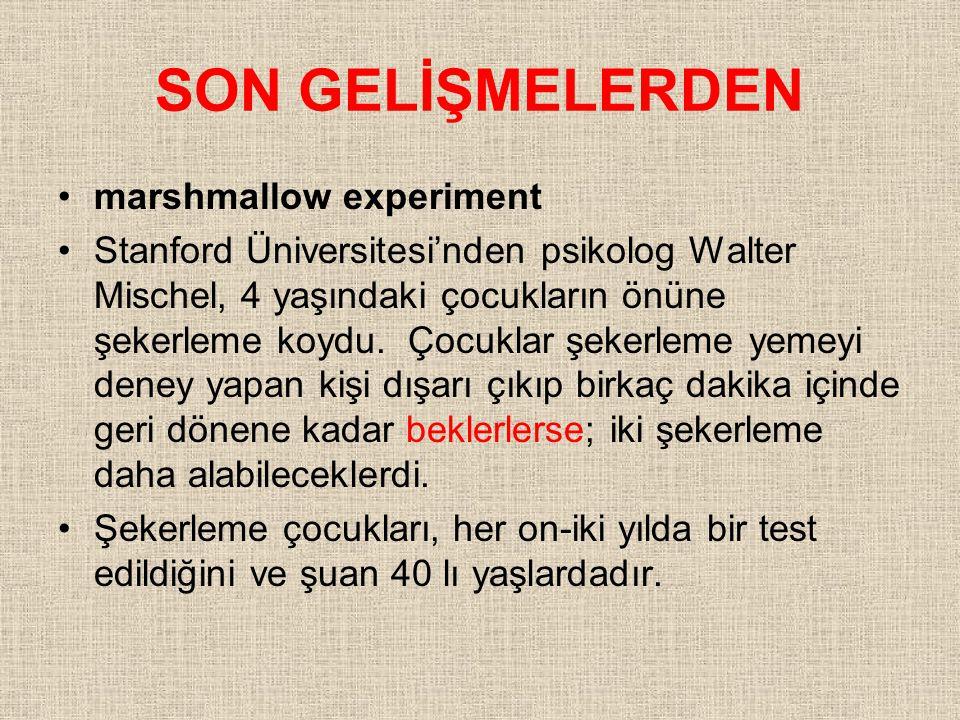 SON GELİŞMELERDEN marshmallow experiment Stanford Üniversitesi'nden psikolog Walter Mischel, 4 yaşındaki çocukların önüne şekerleme koydu.
