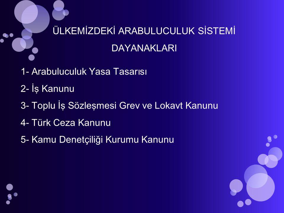 ÜLKEMİZDEKİ ARABULUCULUK SİSTEMİ DAYANAKLARI 1- Arabuluculuk Yasa Tasarısı 2- İş Kanunu 3- Toplu İş Sözleşmesi Grev ve Lokavt Kanunu 4- Türk Ceza Kanu