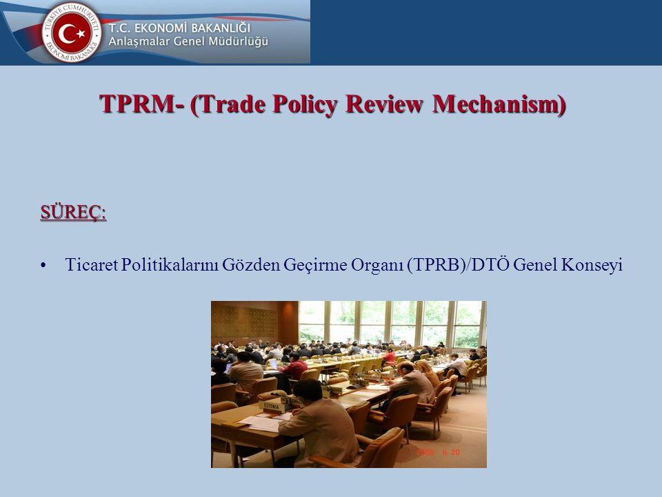 TPRM- (Trade Policy Review Mechanism) SÜREÇ: İki temel doküman esas: Discussant (Tartışmacı) HÜKÜMET RAPORU SEKRETARYA RAPORU