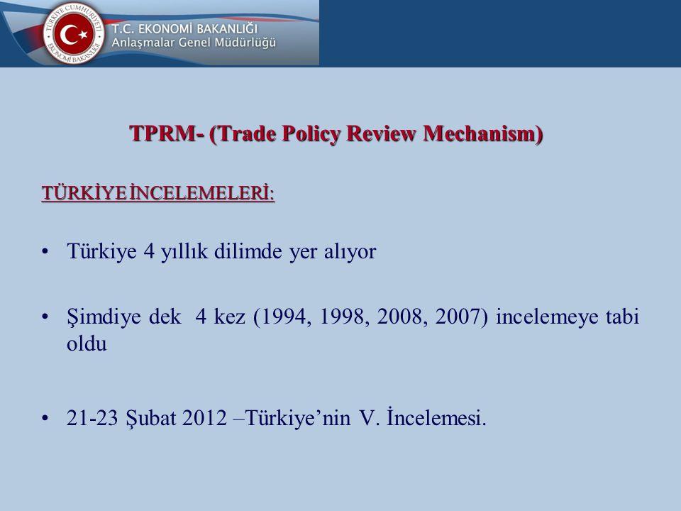 TPRM- (Trade Policy Review Mechanism) TÜRKİYE İNCELEMELERİ:  Hükümet Raporu (17 Ocak 2012 –WT/TPR/G/259)  Sekretarya Raporu (17 Ocak 2012- WT/TPR/S/259)