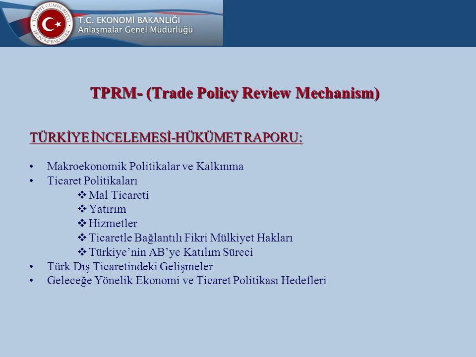 TPRM- (Trade Policy Review Mechanism) TÜRKİYE İNCELEMESİ-HÜKÜMET RAPORU: Makroekonomik Politikalar ve Kalkınma Ticaret Politikaları  Mal Ticareti  Yatırım  Hizmetler  Ticaretle Bağlantılı Fikri Mülkiyet Hakları  Türkiye'nin AB'ye Katılım Süreci Türk Dış Ticaretindeki Gelişmeler Geleceğe Yönelik Ekonomi ve Ticaret Politikası Hedefleri