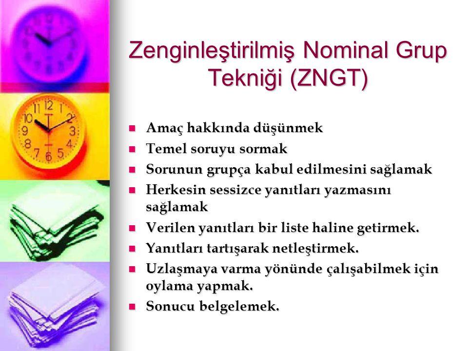 Zenginleştirilmiş Nominal Grup Tekniği (ZNGT) Amaç hakkında düşünmek Amaç hakkında düşünmek Temel soruyu sormak Temel soruyu sormak Sorunun grupça kab