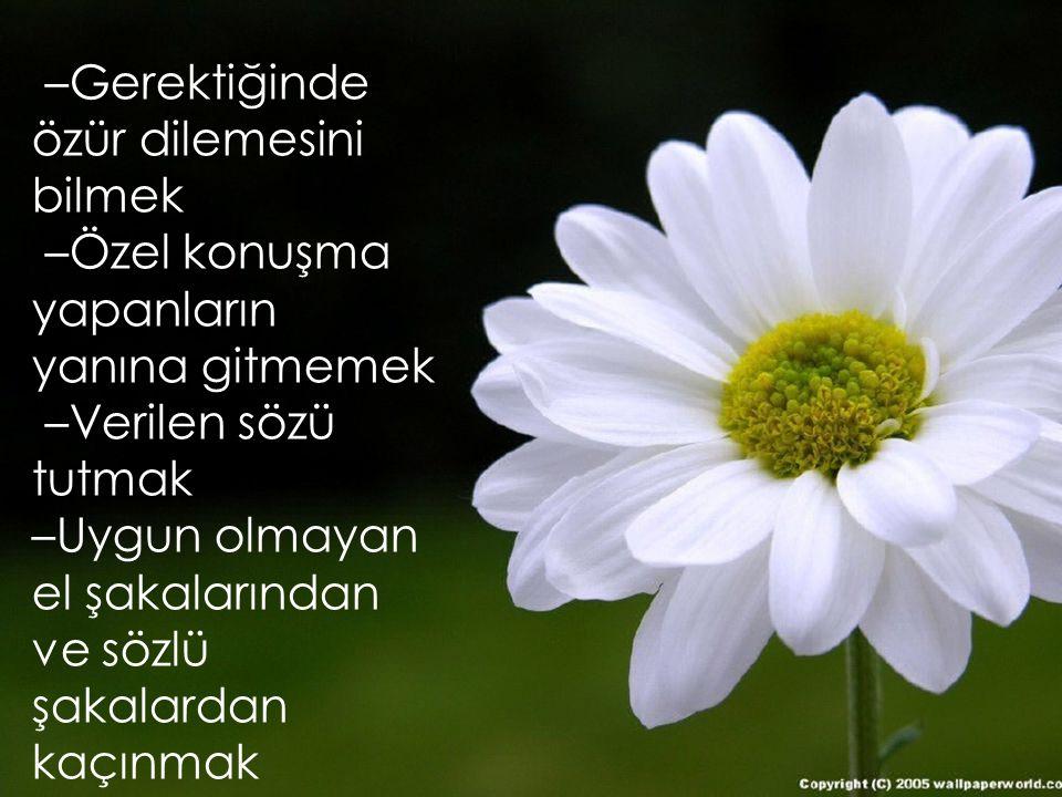 –Gerektiğinde özür dilemesini bilmek –Özel konuşma yapanların yanına gitmemek –Verilen sözü tutmak –Uygun olmayan el şakalarından ve sözlü şakalardan kaçınmak