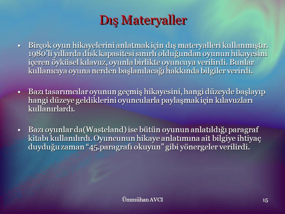 Ümmühan AVCI15 Dış Materyaller Birçok oyun hikayelerini anlatmak için dış materyalleri kullanmıştır. 1980'li yıllarda disk kapasitesi sınırlı olduğund