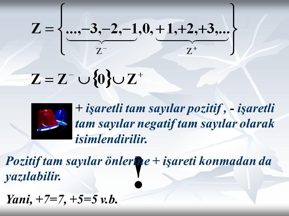 ! + işaretli tam sayılar pozitif, - işaretli tam sayılar negatif tam sayılar olarak isimlendirilir. Pozitif tam sayılar önlerine + işareti konmadan da
