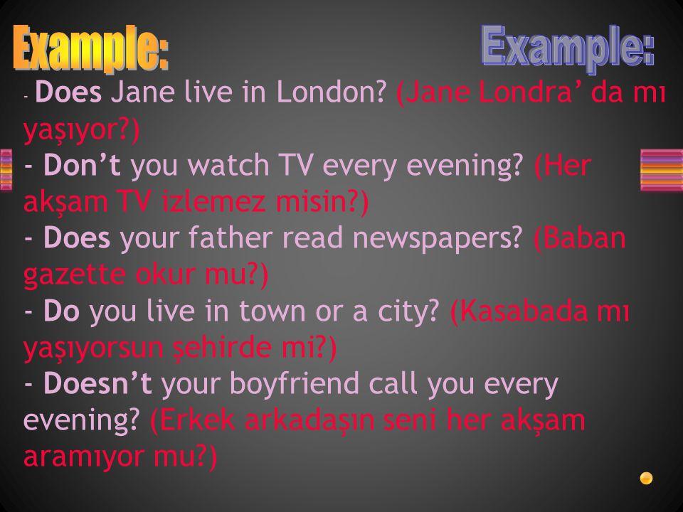 - Does Jane live in London.(Jane Londra' da mı yaşıyor?) - Don't you watch TV every evening.