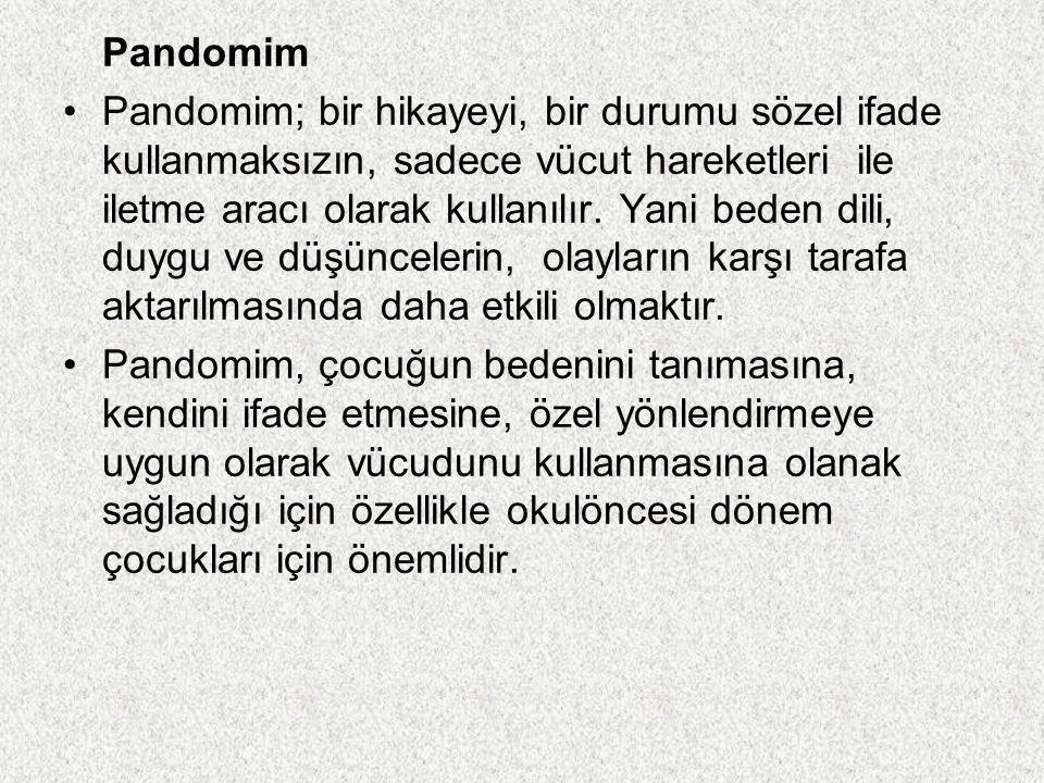 Pandomim Pandomim; bir hikayeyi, bir durumu sözel ifade kullanmaksızın, sadece vücut hareketleri ile iletme aracı olarak kullanılır. Yani beden dili,