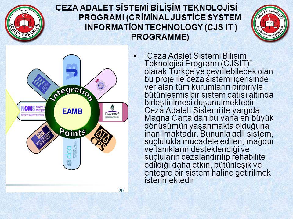 CEZA ADALET SİSTEMİ BİLİŞİM TEKNOLOJİSİ PROGRAMI (CRİMİNAL JUSTİCE SYSTEM INFORMATİON TECHNOLOGY (CJS IT ) PROGRAMME) Ceza Adalet Sistemi Bilişim Teknolojisi Programı (CJSIT) olarak Türkçe'ye çevrilebilecek olan bu proje ile ceza sistemi içerisinde yer alan tüm kurumların birbiriyle bütünleşmiş bir sistem çatısı altında birleştirilmesi düşünülmektedir.
