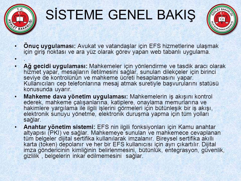 SİSTEME GENEL BAKIŞ Önuç uygulaması: Avukat ve vatandaşlar için EFS hizmetlerine ulaşmak için giriş noktası ve ara yüz olarak görev yapan web tabanlı