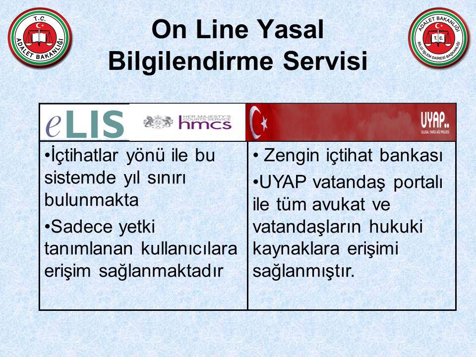 On Line Yasal Bilgilendirme Servisi UYAP İçtihatlar yönü ile bu sistemde yıl sınırı bulunmakta Sadece yetki tanımlanan kullanıcılara erişim sağlanmakt
