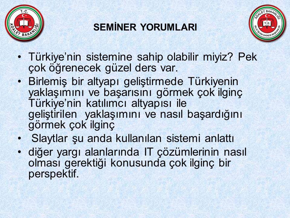 SEMİNER YORUMLARI Türkiye'nin sistemine sahip olabilir miyiz? Pek çok öğrenecek güzel ders var. Birlemiş bir altyapı geliştirmede Türkiyenin yaklaşımı