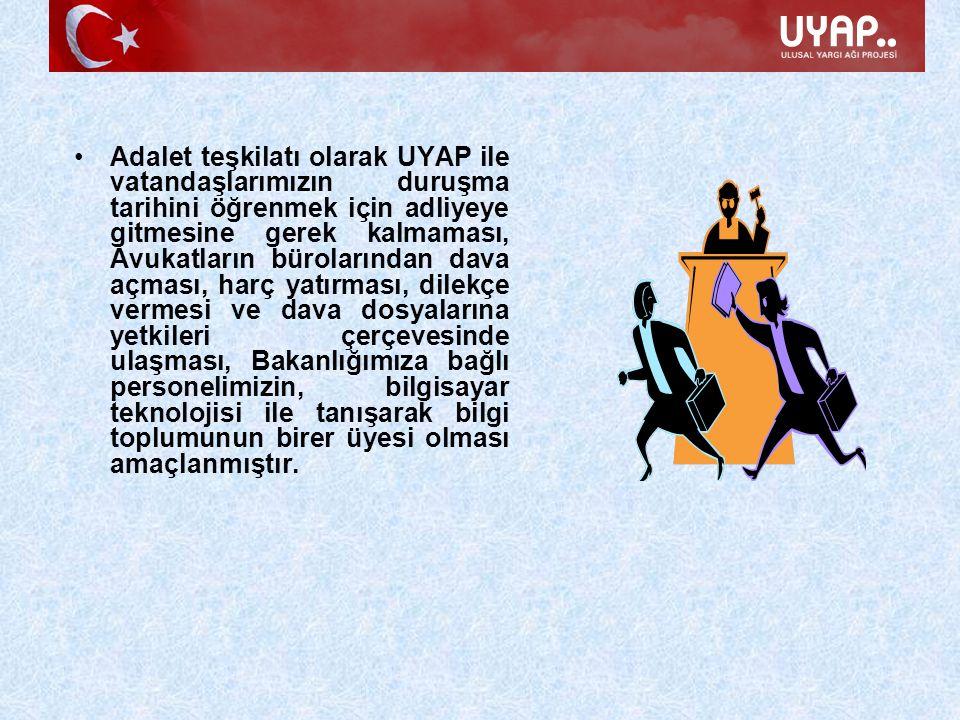 Adalet teşkilatı olarak UYAP ile vatandaşlarımızın duruşma tarihini öğrenmek için adliyeye gitmesine gerek kalmaması, Avukatların bürolarından dava aç