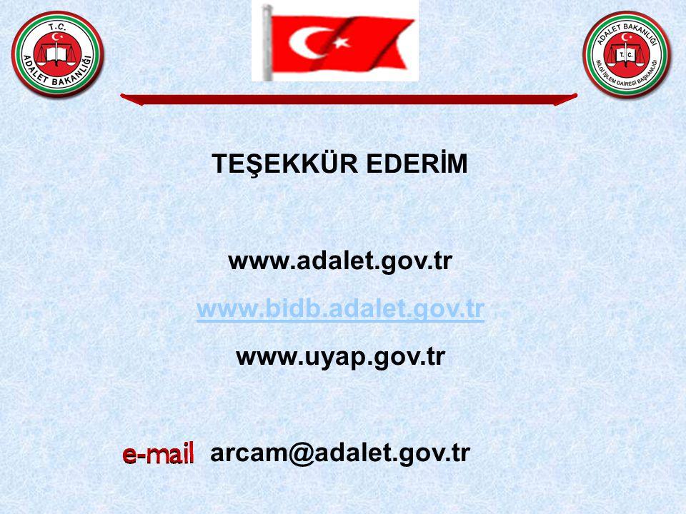TEŞEKKÜR EDERİM www.adalet.gov.tr www.bidb.adalet.gov.tr www.uyap.gov.tr arcam@adalet.gov.tr