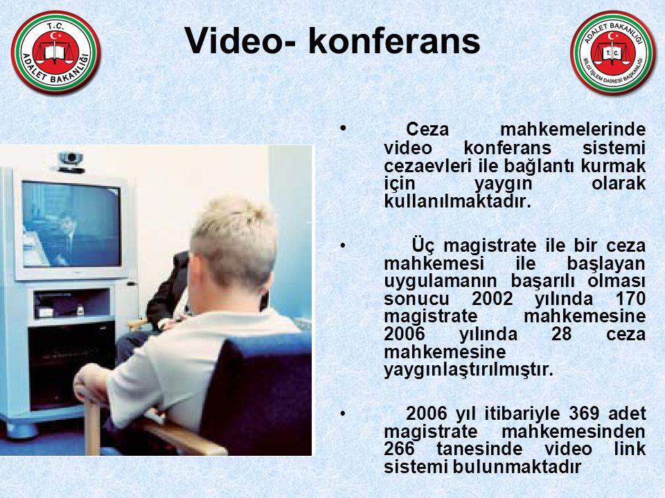 Video- konferans Ceza mahkemelerinde video konferans sistemi cezaevleri ile bağlantı kurmak için yaygın olarak kullanılmaktadır. Üç magistrate ile bir