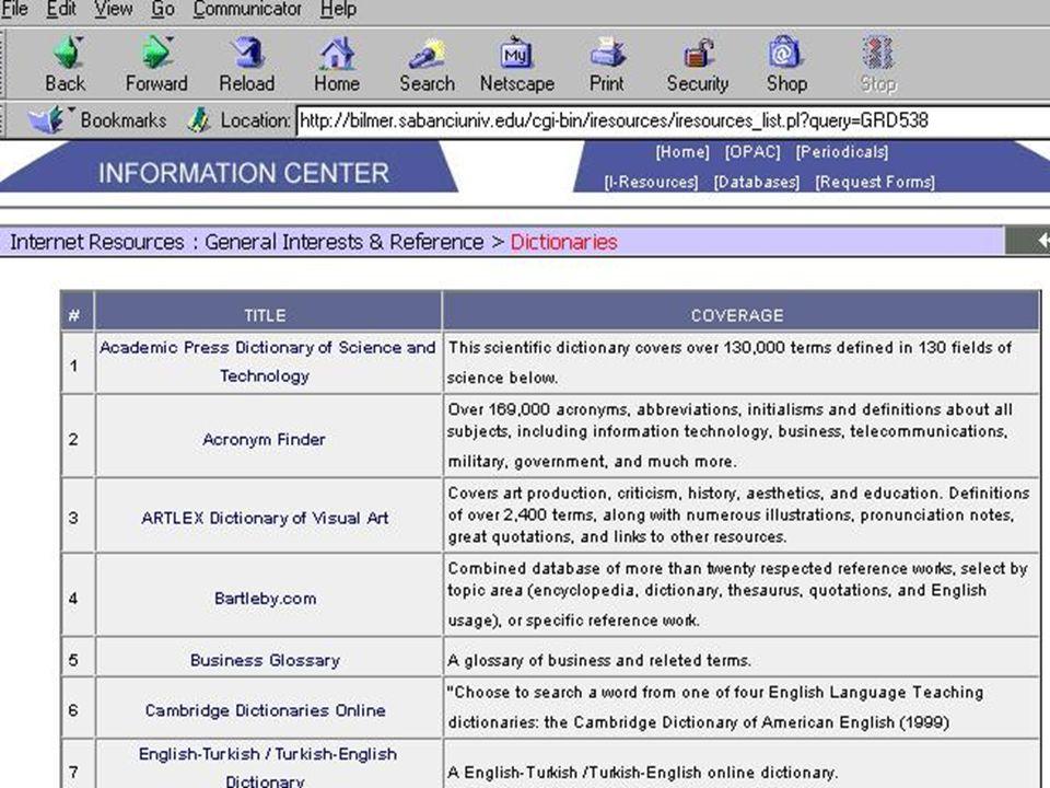 Kullanıcı Eğitim Materyalleri: Diğer yardımcı kaynaklar; –İlgili kütüphanecilerin iletişim bilgileri, –Kaynakların nasıl referans gösterileceğini anlatan rehberler, –Telif haklarını açıklayan notlar, –Bilimsel hırsızlık (plagiarism) konularında rehberler.