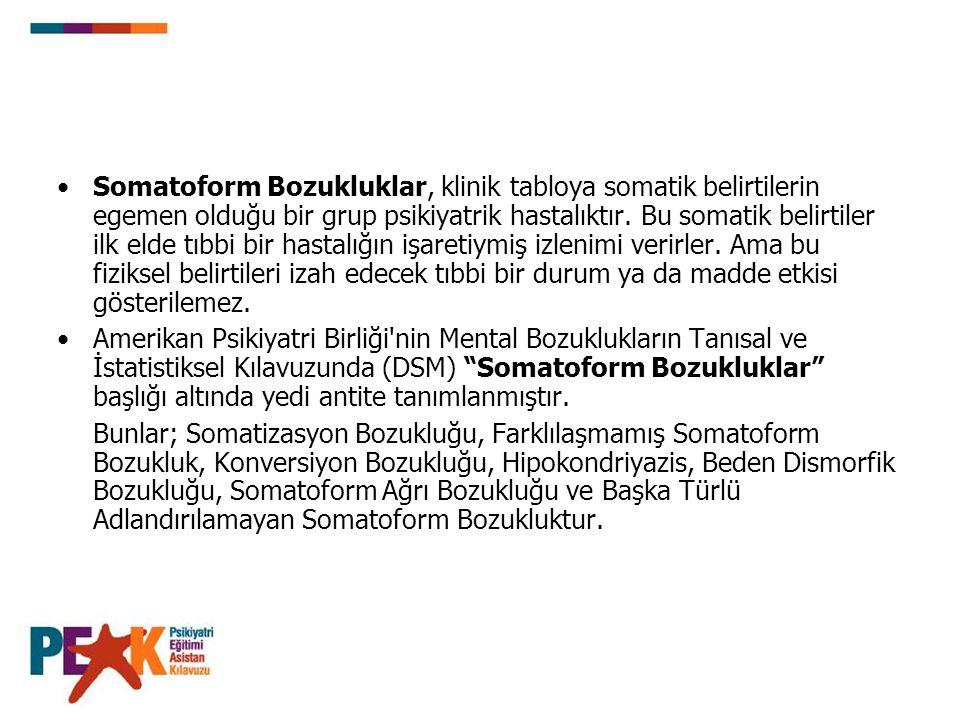 Somatoform Bozukluklar, klinik tabloya somatik belirtilerin egemen olduğu bir grup psikiyatrik hastalıktır.