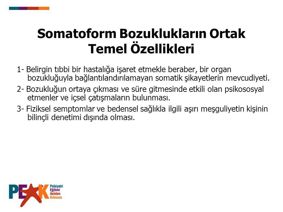 Somatoform Bozuklukların Ortak Temel Özellikleri 1- Belirgin tıbbi bir hastalığa işaret etmekle beraber, bir organ bozukluğuyla bağlantılandırılamayan somatik şikayetlerin mevcudiyeti.