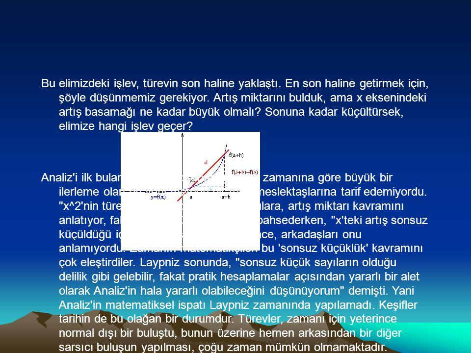 Türev İşlevi Nasıl Türetilir Sonsuz Küçüklük Analiz, bir veya daha fazla dereceli denklemlerin, en yüksek noktasını bulmak, değişimi temsil etmek gibi birçok bilim ve mühendislik alanında kullanılır.