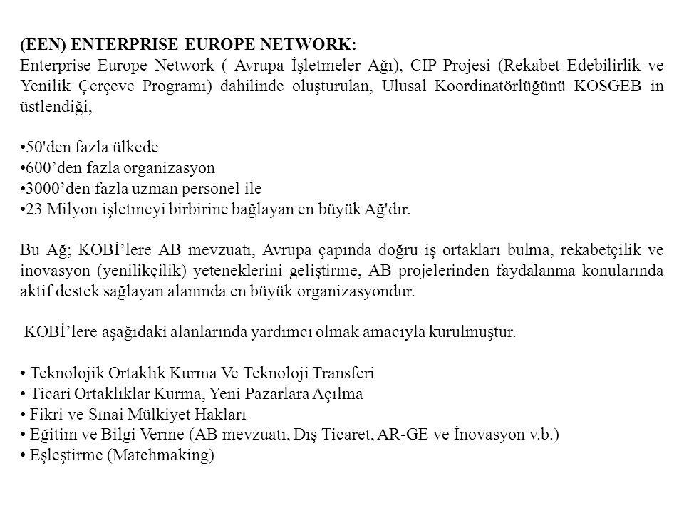 (EEN) ENTERPRISE EUROPE NETWORK: Enterprise Europe Network ( Avrupa İşletmeler Ağı), CIP Projesi (Rekabet Edebilirlik ve Yenilik Çerçeve Programı) dahilinde oluşturulan, Ulusal Koordinatörlüğünü KOSGEB in üstlendiği, 50 den fazla ülkede 600'den fazla organizasyon 3000'den fazla uzman personel ile 23 Milyon işletmeyi birbirine bağlayan en büyük Ağ dır.
