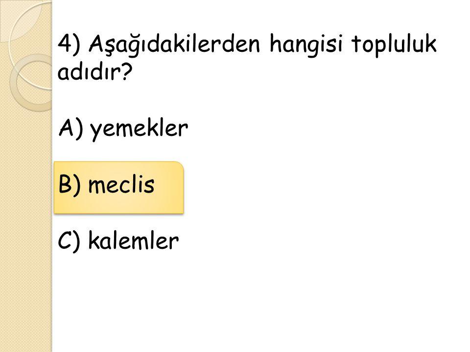 4) Aşağıdakilerden hangisi topluluk adıdır? A) yemekler B) meclis C) kalemler