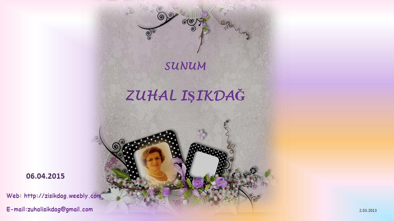 Web: http://zisikdag.weebly.com E-mail:zuhalisikdag@gmail.com 06.04.2015 2.03.2013