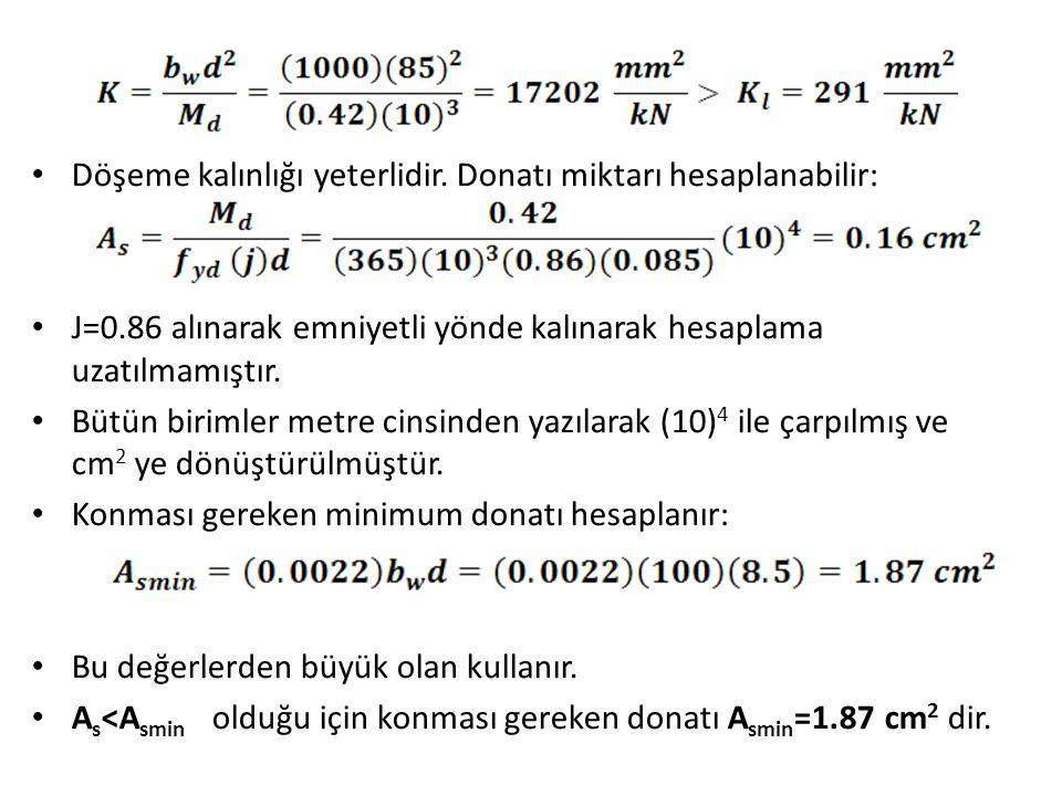 Döşeme kalınlığı yeterlidir. Donatı miktarı hesaplanabilir: J=0.86 alınarak emniyetli yönde kalınarak hesaplama uzatılmamıştır. Bütün birimler metre c