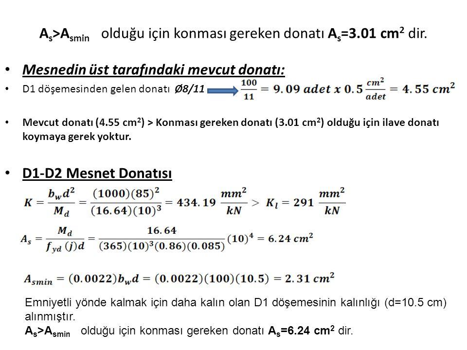 A s >A smin olduğu için konması gereken donatı A s =3.01 cm 2 dir. Mesnedin üst tarafındaki mevcut donatı: D1 döşemesinden gelen donatı Ø8/11 Mevcut d