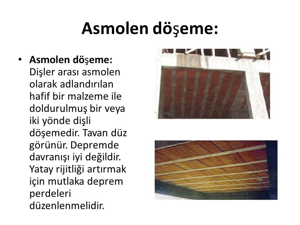 Asmolen döşeme: Asmolen döşeme: Dişler arası asmolen olarak adlandırılan hafif bir malzeme ile doldurulmuş bir veya iki yönde dişli döşemedir. Tavan d