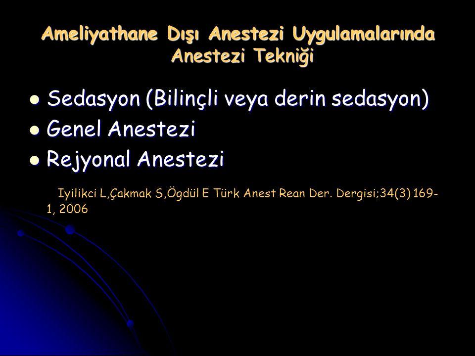 Ameliyathane Dışı Anestezi Uygulamalarında Anestezi Tekniği Sedasyon (Bilinçli veya derin sedasyon) Sedasyon (Bilinçli veya derin sedasyon) Genel Anes