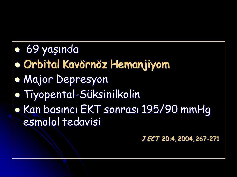 69 yaşında 69 yaşında Orbital Kavörnöz Hemanjiyom Orbital Kavörnöz Hemanjiyom Major Depresyon Major Depresyon Tiyopental-Süksinilkolin Tiyopental-Süks