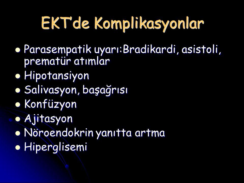 EKT'de Komplikasyonlar Parasempatik uyarı:Bradikardi, asistoli, prematür atımlar Parasempatik uyarı:Bradikardi, asistoli, prematür atımlar Hipotansiyo
