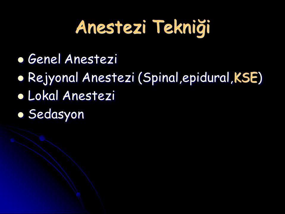 Anestezi Tekniği Genel Anestezi Genel Anestezi Rejyonal Anestezi (Spinal,epidural,KSE) Rejyonal Anestezi (Spinal,epidural,KSE) Lokal Anestezi Lokal An