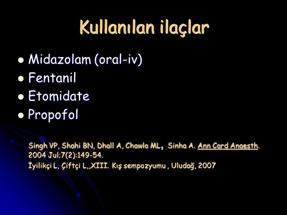 Kullanılan ilaçlar Midazolam (oral-iv) Midazolam (oral-iv) Fentanil Fentanil Etomidate Etomidate Propofol Propofol Singh VP, Shahi BN, Dhall A, Chawla