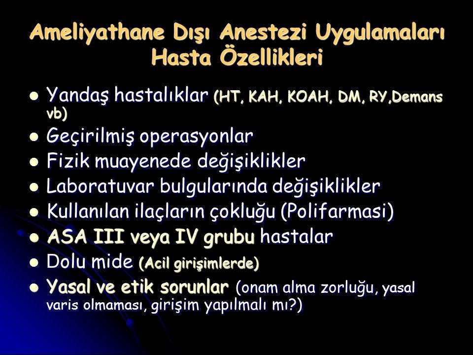 Ameliyathane Dışı Anestezi Uygulamaları Yapılan Bölümler Radyoloji Bölümü Radyoloji Bölümü MRI, BT MRI, BT Girişimsel Radyoloji Girişimsel Radyoloji Kisthidatik aspirasyonu, Kisthidatik aspirasyonu, Karaciğer biyopsisi Karaciğer biyopsisi Böbrek biyopsisi Böbrek biyopsisi Meme biyopsisi Meme biyopsisi Tiroid biyopsisi Tiroid biyopsisi Aort anevrizması nedeniyle stent konması Aort anevrizması nedeniyle stent konması Karotid arter stenozu nedeni ile stent konması Karotid arter stenozu nedeni ile stent konması Transjugular intrahepatik portosistemik şant (TIPS) Transjugular intrahepatik portosistemik şant (TIPS) Serebral embolizasyon Serebral embolizasyon Gastroenteroloji Bölümü Gastroenteroloji Bölümü Gastroskopi Gastroskopi Kolonoskopi Kolonoskopi Perkutan endoskopik gastrostomi (PEG açılması) Perkutan endoskopik gastrostomi (PEG açılması) Endoskopik retrograd kolanjiopankreatografi (ERCP) Endoskopik retrograd kolanjiopankreatografi (ERCP) Üroloji Bölümü Üroloji Bölümü Ekstracorporeal shock wave lithotripsy (ESWL) Ekstracorporeal shock wave lithotripsy (ESWL)