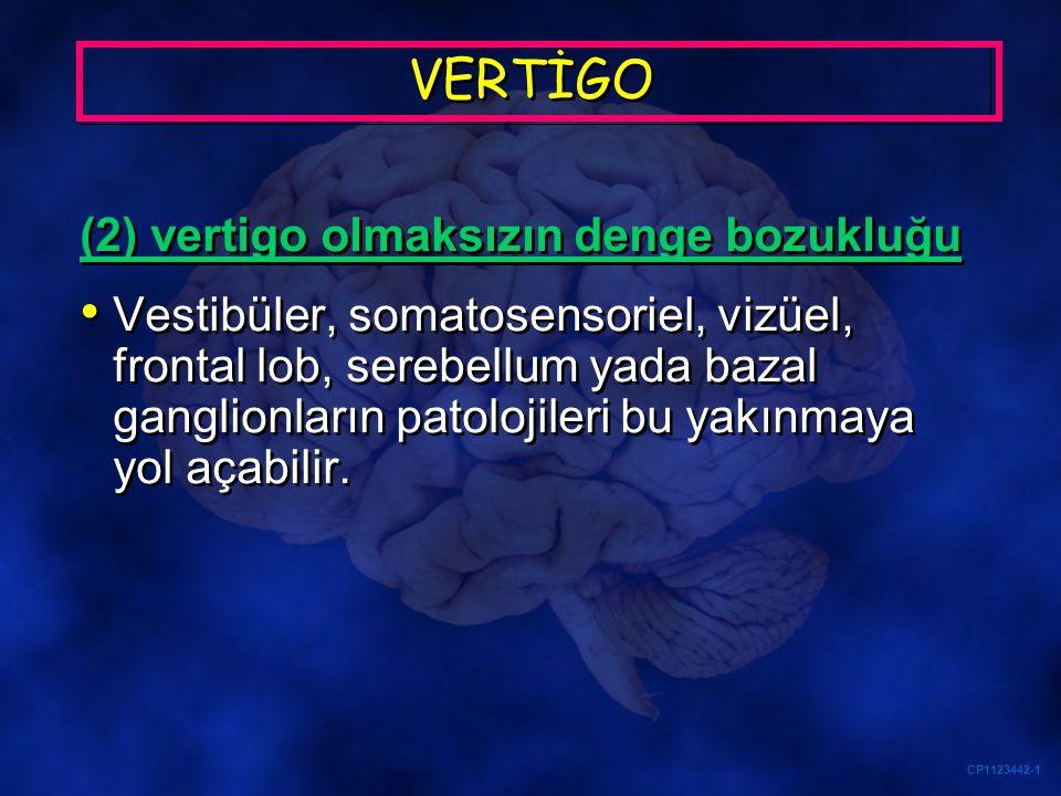 CP1123442-1 VERTİGO (2) vertigo olmaksızın denge bozukluğu Vestibüler, somatosensoriel, vizüel, frontal lob, serebellum yada bazal ganglionların patol