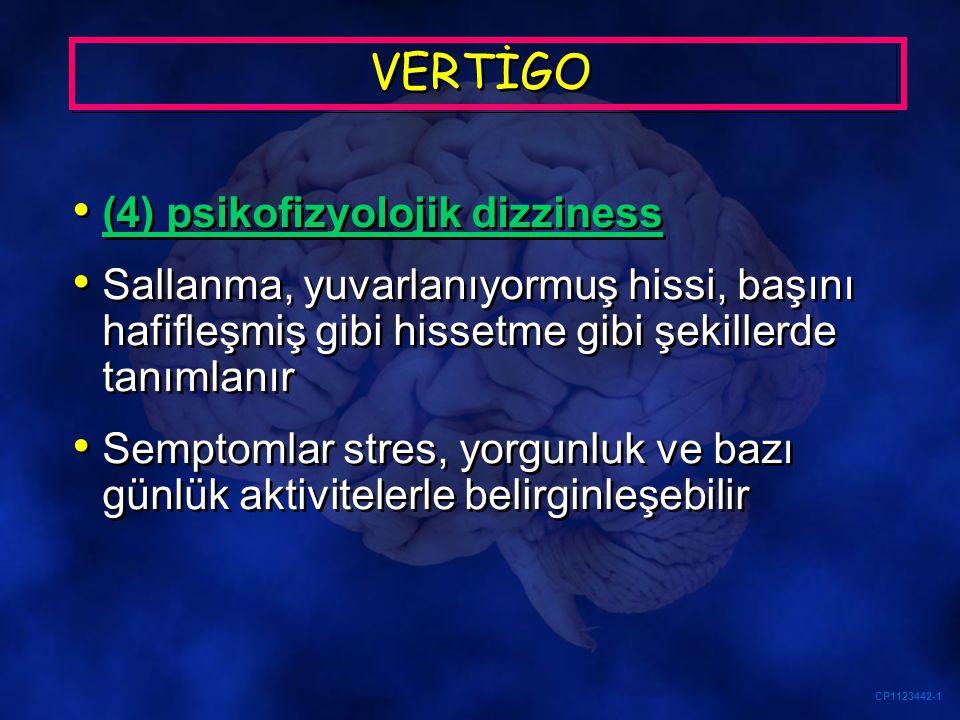 CP1123442-1 VERTİGO (4) psikofizyolojik dizziness Sallanma, yuvarlanıyormuş hissi, başını hafifleşmiş gibi hissetme gibi şekillerde tanımlanır Semptom