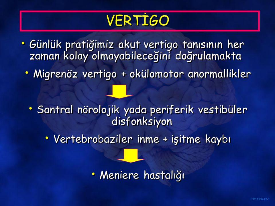 CP1123442-1 VERTİGO Günlük pratiğimiz akut vertigo tanısının her zaman kolay olmayabileceğini doğrulamakta Migrenöz vertigo + okülomotor anormallikler