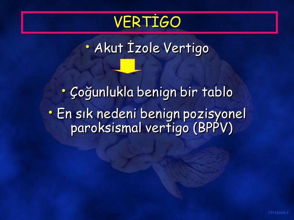 CP1123442-1 VERTİGO Akut İzole Vertigo Çoğunlukla benign bir tablo En sık nedeni benign pozisyonel paroksismal vertigo (BPPV) Akut İzole Vertigo Çoğun