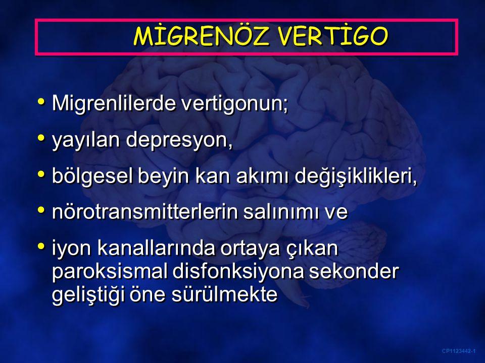 CP1123442-1 MİGRENÖZ VERTİGO Migrenlilerde vertigonun; yayılan depresyon, bölgesel beyin kan akımı değişiklikleri, nörotransmitterlerin salınımı ve iy