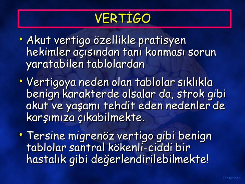 CP1123442-1 VERTİGO Akut İzole Vertigo Çoğunlukla benign bir tablo En sık nedeni benign pozisyonel paroksismal vertigo (BPPV) Akut İzole Vertigo Çoğunlukla benign bir tablo En sık nedeni benign pozisyonel paroksismal vertigo (BPPV)