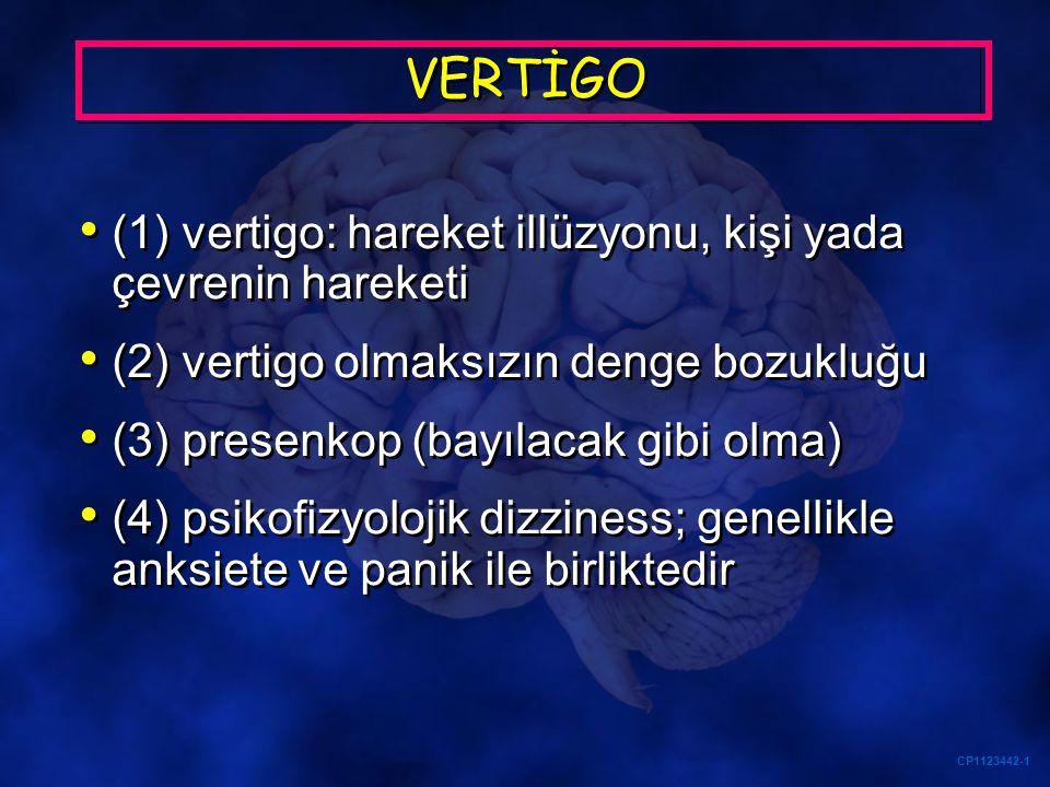 a) Subakut başlangıçlı vertigo (birkaç dakika yada saat içinde) (b) Eşlik eden nörolojik bulgu ve başağrısı/işitme azlığı gibi bulgularının olmaması (c) Santral nörolojik bulgu saptanmaması (d) Akut unilateral periferik vestibülopatiyi düşündürecek bulguların saptanması (e) Meniere hastalığı için tipik olan akut vertigo ve işitme kaybının varlığı Vertigolu hastada acil MR ne zaman gerekli DEĞİL?