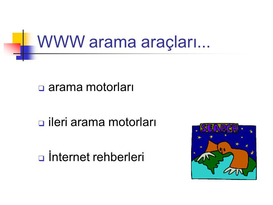 WWW arama araçları...  arama motorları  ileri arama motorları  İnternet rehberleri