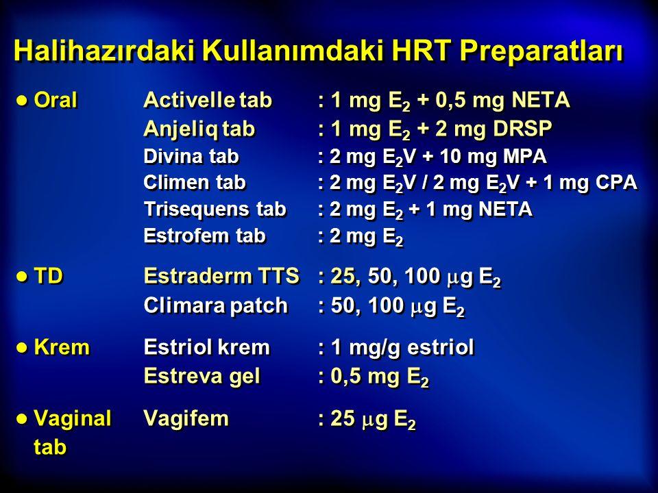 Halihazırdaki Kullanımdaki HRT Preparatları ● OralActivelle tab: 1 mg E 2 + 0,5 mg NETA Anjeliq tab: 1 mg E 2 + 2 mg DRSP Divina tab: 2 mg E 2 V + 10
