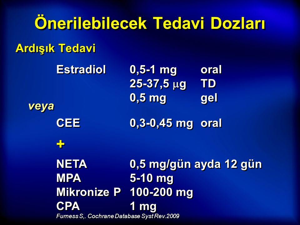 Önerilebilecek Tedavi Dozları Ardışık Tedavi Estradiol0,5-1 mg oral 25-37,5  g TD 0,5 mg gel veya CEE0,3-0,45 mg oral + + NETA0,5 mg/gün ayda 12 gün