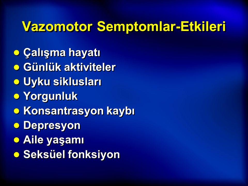 Vazomotor Semptomlar-Etkileri ● Çalışma hayatı ● Günlük aktiviteler ● Uyku siklusları ● Yorgunluk ● Konsantrasyon kaybı ● Depresyon ● Aile yaşamı ● Se
