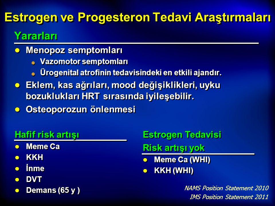 Estrogen ve Progesteron Tedavi Araştırmaları Yararları ● Menopoz semptomları Vazomotor semptomları Ürogenital atrofinin tedavisindeki en etkili ajandı