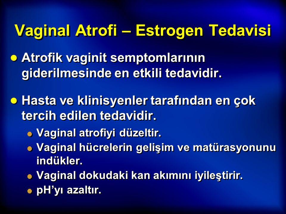 Vaginal Atrofi – Estrogen Tedavisi ● Atrofik vaginit semptomlarının giderilmesinde en etkili tedavidir. ● Hasta ve klinisyenler tarafından en çok terc