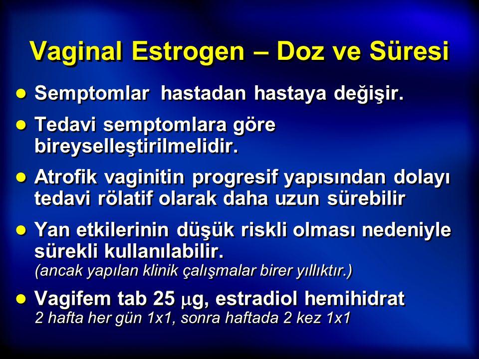 Vaginal Estrogen – Doz ve Süresi ● Semptomlar hastadan hastaya değişir. ● Tedavi semptomlara göre bireyselleştirilmelidir. ● Atrofik vaginitin progres