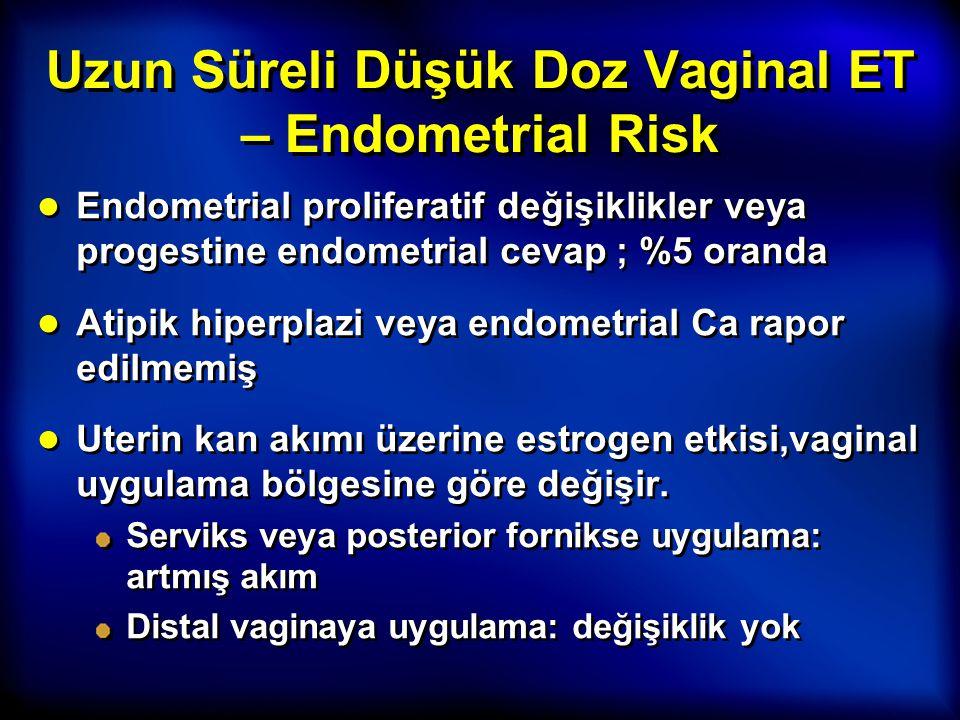 Uzun Süreli Düşük Doz Vaginal ET – Endometrial Risk ● Endometrial proliferatif değişiklikler veya progestine endometrial cevap ; %5 oranda ● Atipik hi